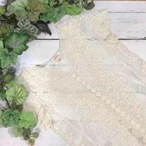Sundance Sheer Lace Short Sleeve Blouse